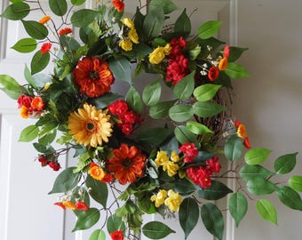 Summer Wreath, Large Door Wreath Orange Red Yellow Gerbera Roses Wreath 28in