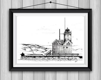 """8""""x10"""" Pen & Ink Drawing - Print on Cardstock - of the Holland Harbor Lighthouse, Michigan"""