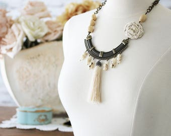 Tassel Jewelry for Her - Boho Bead Statement Necklace - Bib Necklace - Statement Necklace for Wife - Bead Necklace for Mom - Boho Jewelry