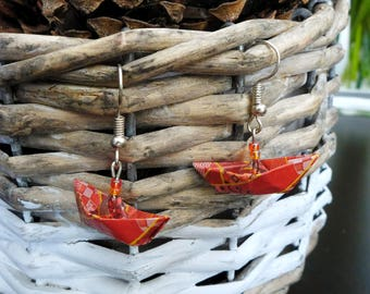 Origami boat earrings