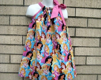 Disney princesses all over Pillowcase Dress, Sizes 3M  up to 7 years