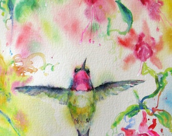 Hummingbird signed watercolor print,fuschia watercolor painting,impressionism giclee,flower painting,art print,wall decor,Janice Trane Jones