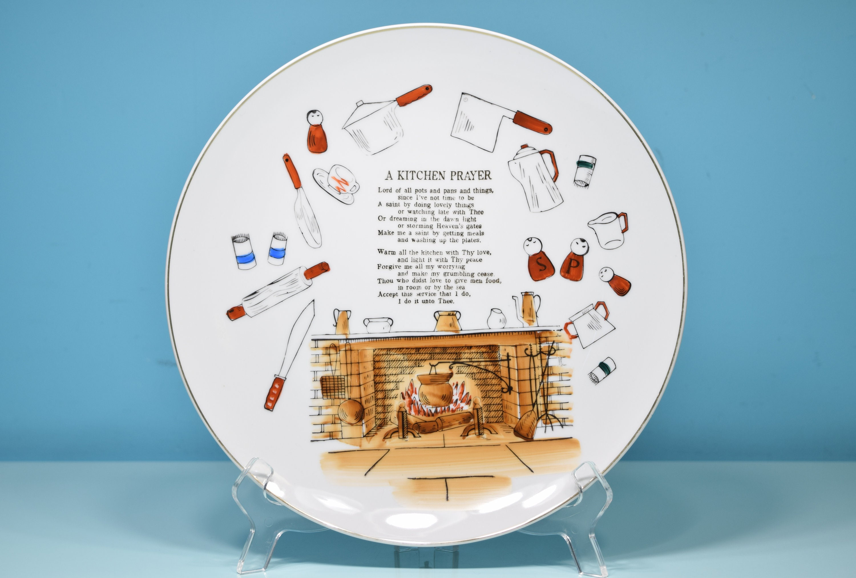 A Kitchen Prayer Decorative Hanging Plate Religious Themed