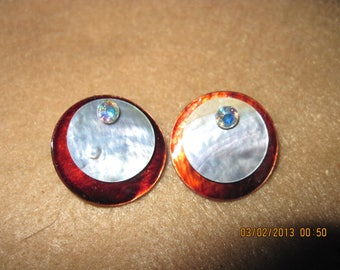Sterling Silver Swarvoski Crystal Round Studs w/ Brown & Silver Shells... 2 in 1 Earrings...one of a kind..1353h