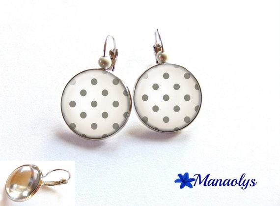 Earrings grey dots on white background, glass cabochons, beads magic 2231