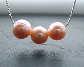 Apricot Pearl Necklace. Silver. Three Little Words