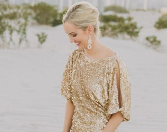 Casey's Bridal Party - light gold sequin short dresses in varying styles