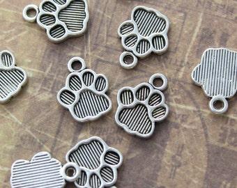 10 Paw Print Charms Paw Print Pendants Antiqued Silver Tone 15 x 12 mm