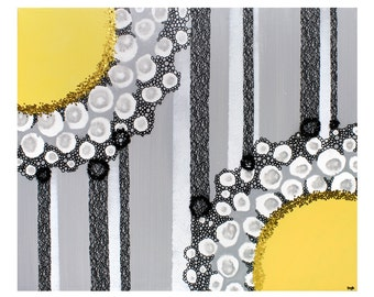 Mixed Media Abstract Art Painting on Canvas in Yellow Black and Gray - Flowers and Stripes - Small 24x20