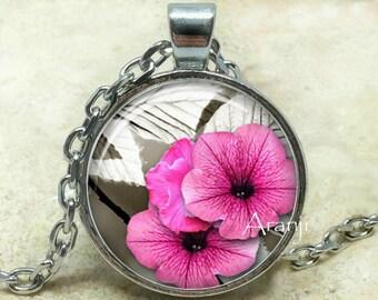 Pink petunia art pendant, pink petunia necklace, pink flower pendant, pink flower necklace, pink petunia pendant, Pendant #PL149P