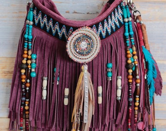 Boho fringe bag, leather fringe, festival purse, native american leather bag, burgundy leather bag, leather handbag, cowgirl purse, boho bag