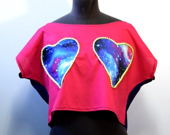 "Crop Top hearts ""Space, pink, blue"""