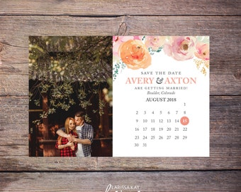 Floral Save the Date Postcard, Save-the-Date Card Photo, Spring  Flowers, Postcard, Calendar Destination Wedding, Printable File - Avery