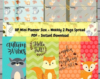 Autumn Forest Mini Planner Weekly Inserts with Dividers/Covers- PDF