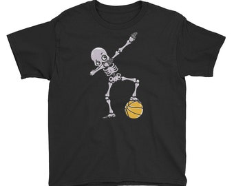 Funny Dabbing Basketball Skelleton Shirt - Perfect Gift for Basketball Lovers Kids
