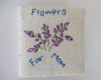 Needle Book/Needle Holder/Flowers For Mom Needle Book with Purple Flowers