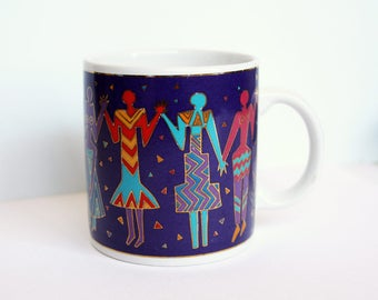 Laurel Burch Mug Dancing Women Vintage Laurel Burch Primitive Stylized Woman Female 1990s Bright Colors Purple Turquoise Red Pink Coffee Mug