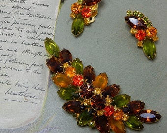 JULIANA Fruit Salad Rhinestone Leaf Brooch & Earrings Set    NBC10