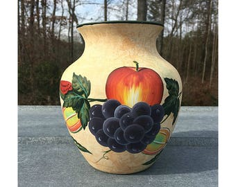 Fruit Flower Vase with Apples, Watermelons and Grapes, Apple Vase, Grape Vase, Watermelon Vase, Hand Painted Pottery, Rustic Farmhouse Decor