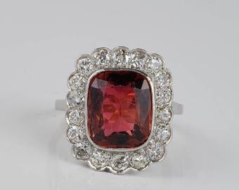 Spectacular Edwardian 4.50 Ct Madeira Citrine 1.50 Ct Diamond Platinum ring