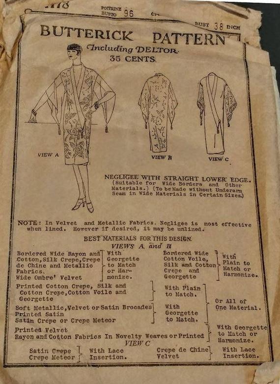 1927 Damen Kimono Stil Negligé Reproduktion Schnittmuster