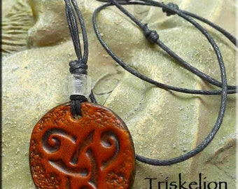Leather Triskelion Necklace, Triskele Necklace, Celtic Amulet - Genuine Leather Celtic Jewelry