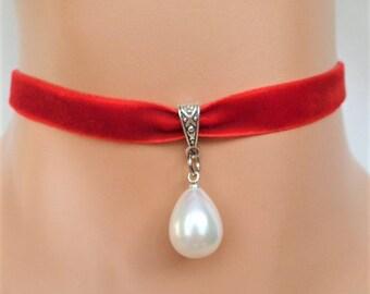 pearl velvet choker, red velvet choker, ivory pearl