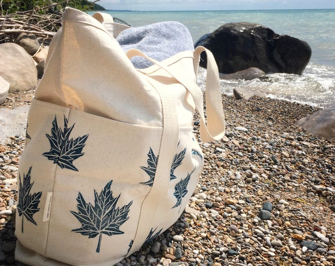 Beach bag tote bag oversized organic canvas bag with pockets market bag carry on or overnight bag handprinted fabric gift idea for her