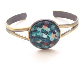 Mermaid Bracelet, Mermaid Scales Cuff Bracelet, Antiqued Brass Bracelet, Mermaid Lover Jewelry, Brass Cuff Bracelet, Nautical Cuff