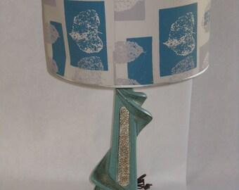 Mid Century modern table lamp ceramic plaster original shade Plasto Mfg Company