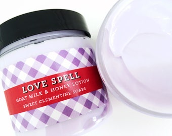 Love Spell Lotion, Moisturizer, Cream, Lotion, Orange, Peach, Summer Flowers, Valentine's Day Gift for Her, Mom, Wife