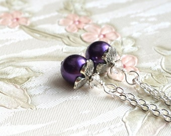 Purple Bridesmaid Jewelry Necklace Dark Purple Necklace, Bridesmaid gift Necklace, Purple Wedding Bridesmaid Jewelry Wedding Gift Under 10