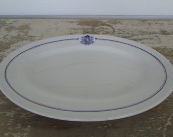 Restaurant ware  platter Restaurantware Shenango Vintage Diner Hotel Cafe Chicago   Red White Blue Tableware Dishes Lion Crest China