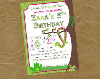 GIRLS Reptiles and Bugs Birthday Party Invitation Frog Snake Grasshopper Cricket Lizard Pink - Digital