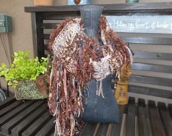 Hand Knit Scarf      Art Yarn Scarf
