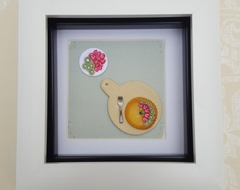 Fun kitchen frame, polymer clay food in miniature, small fruit tart