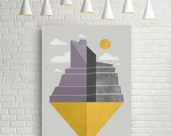 Art prints, illustration art, geometric print, wall art prints, illustration, affiche, retro art print, illustration print, Grand Canyon
