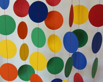 Children's Birthday Party Decoration, Rainbow Garland, Circle Paper Garland, Primary Colors, 10 ft.