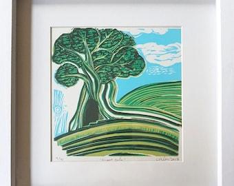 great oak, linoprint, reduction print, original print, green, landscape, yorkshire, calderdale, art, printmaking, tree, tree art, hills