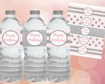 Pink and Silver water bottle labels,Pink and silver Birthday decorations,Pink and silver labels Pink and silver birthday party,Digital file.