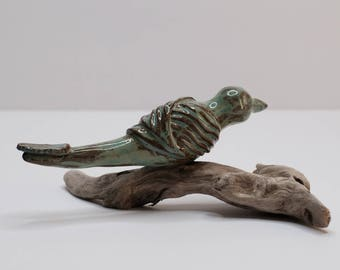Clay-Pottery hand built bird on driftwood/Canadian Handmade/Home Decor/Rustic/Natural
