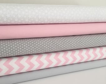 Pink & grey fabric  Collection - Fat Quarter Bundle - New