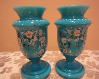 Vintage Vases/Pair of Stunning Vintage Handpainted Vases/Fine Porcelain Vases/Glass Home Decor Vintage Vases