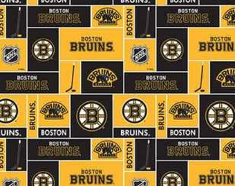 NHL BOSTON BRUINS Patchwork Hockey 100% cotton fabric material you choose length licensed for Crafts, Quilts, clothing and Home Decor