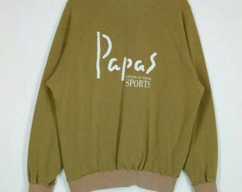 Rare!! PAPAS sweatshirt Spell out nice design pull over jumper crew neck large size