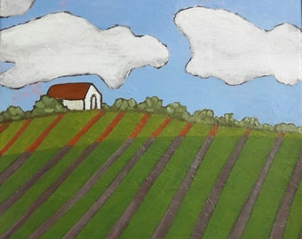 White Barn Painting, Original Painting, Farm Landscape Painting, Abstract Painting, 16x16 Canvas Painting, Nature Painting, Rural Wall Art