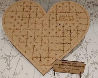 Wedding guest book, heart jigsaw, alternative guest book, wedding guest book alternative, personalised guest book, wedding puzzle wood