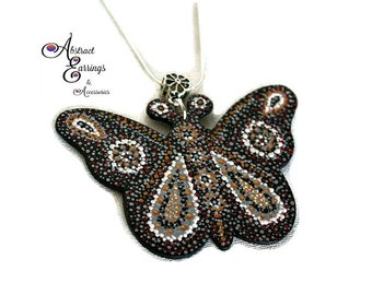 Open Butterfly Hand Painted Pendant,Detailed Art Embellished Wooden Pendants,Victorian Black Butterfly Pendant Necklace,Mother Day Gifts