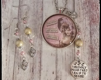 Sassy Vintage Ladies Necklace with Matching Earrings Gift for Her Birthday Mother's Day