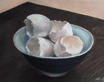 Eggshells in Blue Bowl - small original pastel painting still life kitchen art